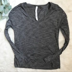 Lululemon Gray Space-dye Scoop Long Sleeve Shirt